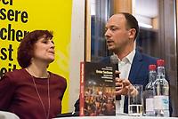 """Buchvorstellung """"Unter Sachsen - Zwischen Wut und Willkommen"""" in Berlin.<br /> Der Sammelband aus dem Christoph Links-Verlag zum Thema Rassismus und rechter Gewalt im Freistaat Sachsen, herausgegeben von der freien Journalistin Heike Kleffner und dem Tagesspiegel-Redakteur Matthias Meisner, wurde am Donnerstag den 30. Maerz 2017 in Berlin vorgestellt.<br /> Auf dem Podium diskutierten der saechsische Vize-Ministerpraesident Martin Dulig (SPD), der saechsische CDU-MdB Marco Wanderwitz, die Linken-Chefin Katja Kipping gemeinsam mit dem Verleger Christoph Link, den Herausgebern Heike Kleffner und Matthias Meisner sowie zwei der 40 Autoren - Michael Bittner und Imran Ayata - ueber das Buch.<br /> In dem Buch suchen die Herausgeber Antworten auf die Frage warum und wie es zu den """"saechsischen Verhaeltnissen"""" kommen konnte. Mit 477 offiziell dokumentierten  fremdenfeindlich motivierte Gewalttaten im Jahr 2015 liegt Sachsen, in Bezug auf die Einwohnerzahl, bundesweit an der Spitze.<br /> Die Landesvertretung des Freistaat Sachsen hatte es abgelehnt die Buchvorstellung in ihren Raeumen stattfinden zu lassen, so dass der Verlag den Sammelband vor ca. 250 Gaesten in der Landesvertretung Thueringen praesentierte.<br /> Im Bild vlnr.: Katja Kipping, Marco Wanderwitz.<br /> 30.3.2017, Berlin<br /> Copyright: Christian-Ditsch.de<br /> [Inhaltsveraendernde Manipulation des Fotos nur nach ausdruecklicher Genehmigung des Fotografen. Vereinbarungen ueber Abtretung von Persoenlichkeitsrechten/Model Release der abgebildeten Person/Personen liegen nicht vor. NO MODEL RELEASE! Nur fuer Redaktionelle Zwecke. Don't publish without copyright Christian-Ditsch.de, Veroeffentlichung nur mit Fotografennennung, sowie gegen Honorar, MwSt. und Beleg. Konto: I N G - D i B a, IBAN DE58500105175400192269, BIC INGDDEFFXXX, Kontakt: post@christian-ditsch.de<br /> Bei der Bearbeitung der Dateiinformationen darf die Urheberkennzeichnung in den EXIF- und  IPTC-Daten nicht entfernt werden, diese sind in di"""