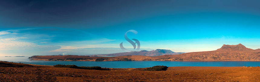 Beinn Ghobhlach and a distant Beinn Mor Coigach above Little Loch Broom, Ross & Cromarty, Northwest Highlands
