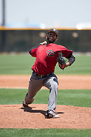 Arizona Diamondbacks relief pitcher Melvin Ovalles (12) delivers a pitch during an Extended Spring Training game against the Cleveland Indians at the Cleveland Indians Training Complex on May 27, 2018 in Goodyear, Arizona. (Zachary Lucy/Four Seam Images)