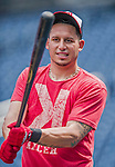 6 September 2014: Washington Nationals second baseman Asdrubal Cabrera awaits his turn in the batting cage prior to a game against the Philadelphia Phillies at Nationals Park in Washington, DC. The Nationals fell to the Phillies 3-1 in the second game of their 3-game series. Mandatory Credit: Ed Wolfstein Photo *** RAW (NEF) Image File Available ***