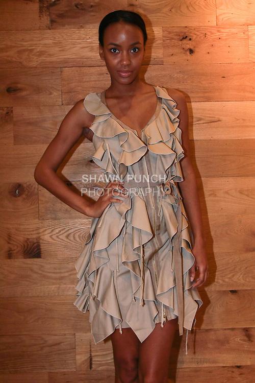 Model poses at Misha Nicole's Sachin + Babi cocktail party at 303 Bowery, May 12, 2011.