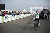 Sanne Cant (BEL/Iko Beobank) after winning the Belgian National CX Championships 2018 &amp; waiting behind the finish line to see who'd come in 2nd<br /> <br /> Women's Race<br /> Belgian National Cyclocross Championships 2018 / Koksijde