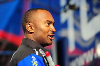 Feb. 17 2012; Chandler, AZ, USA; NHRA top fuel driver Antron Brown talks with fans at the Arizona Nationals at Firebird International Raceway. Mandatory Credit: Mark J. Rebilas-