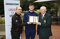 Colm Conyngham Bridgestone Ireland And Jim McGovern president of the GUI with Rob Brazil (Naas) winner of the Bridgestone Order of Merit at the presentations in the GUI National Academy, Maynooth, Kildare, Ireland. 30/11/2019.<br /> Picture Fran Caffrey / Golffile.ie<br /> <br /> All photo usage must carry mandatory copyright credit (© Golffile | Fran Caffrey)