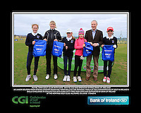 Royal Tara Golf Club Girls With Kate Wright CGI and Brendan Byrne Bank of Ireland.<br /> Junior golfers from across Leinster practicing their skills at the regional finals of the Dubai Duty Free Irish Open Skills Challenge supported by Bank of Ireland at the Heritage Golf Club, Killinard, Co Laois. 2/04/2016.<br /> Picture: Golffile | Fran Caffrey<br /> <br /> <br /> All photo usage must carry mandatory copyright credit (© Golffile | Fran Caffrey)