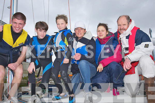 ALL ABOARD: All aboard on Sunday at the tralee Bay Sailing Cub Fenit l-r: Sean Hurley,Murraugh Connolly,Cathal Costello, Sharon Hartnett,Stefanie Schulze,Richard Hurley(Commonadore Tralee Bay Sailing Club Fenit).
