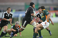 New Zealand flanker Peter Saili drives play forward during the U19 Championship final against South Africa at Ravenhill, Belfast.