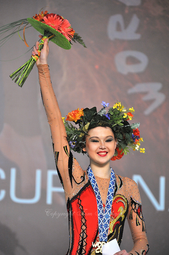 "ALINA MAKSYMENKO  of Ukraine one of her three Event Final wins at 2011 World Cup Kiev, ""Deriugina Cup"" in Kiev, Ukraine on May 8, 2011."