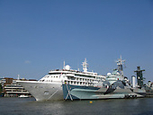Cruise ship MS Silver Wind moored next to HMS Belfast in the Pool of London