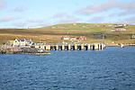 View of Ulsta, Yell, from ferry, Yell, Shetland Islands, Scotland