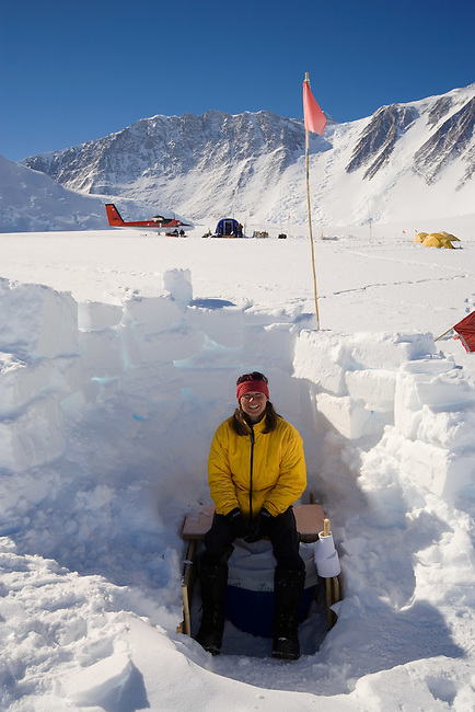 Using the field toilet at Mount Vinson Base Camp. Vinson Massif, . Antarctica