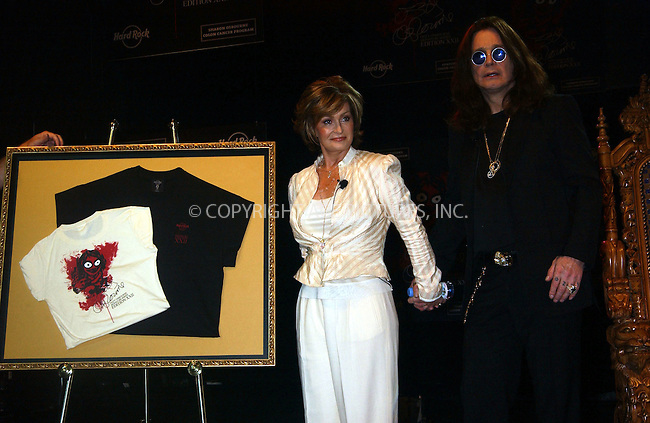 WWW.ACEPIXS.COM . . . . . ....July 28, 2006, New York City. ....Ozzy and Sharon Osbourne reveal Limited Edition 'Osbourne Designs' Tee-shirts. ......Please byline: KRISTIN CALLAHAN - ACEPIXS.COM.. . . . . . ..Ace Pictures, Inc:  ..(212) 243-8787 or (646) 769 0430..e-mail: info@acepixs.com..web: http://www.acepixs.com