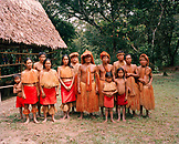 PERU, Amazon Rainforest, South America, Latin America, portrait of a tribal family standing together.