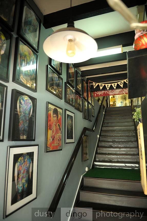 Stairs leading to a tattoo parlor, Singapore