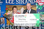 LEE STRAND: Mary Daly (Ballyduff) winner of Lee Strand Final Bonus Draw being presented with a her cheque for EUR5,000 by Jerry O'Dwyer (Production Manager) at Lee Strand Headquarters, Ballymullen on Tuesday..   Copyright Kerry's Eye 2008