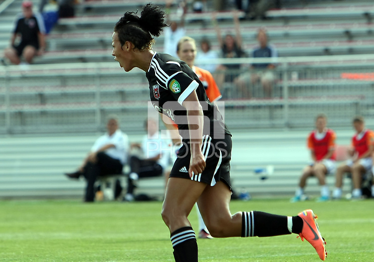 BOYDS, MARYLAND - July 22, 2012:  Lianne Sanderson (10) of DC United Women turns away after scoring against the Charlotte Lady Eagles during the W League Eastern Conference Championship match at Maryland Soccerplex, in Boyds, Maryland on July 22. DC United Women won 3-0.