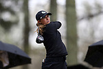 BROWNS SUMMIT, NC - MARCH 31: Colorado State's Jessica Sloot tees off on the 11th hole. The first round of the Bryan National Collegiate Women's Golf Tournament was held on March 31, 2017, at the Bryan Park Champions Course in Browns Summit, NC. A waterlogged course eventually suspended play.