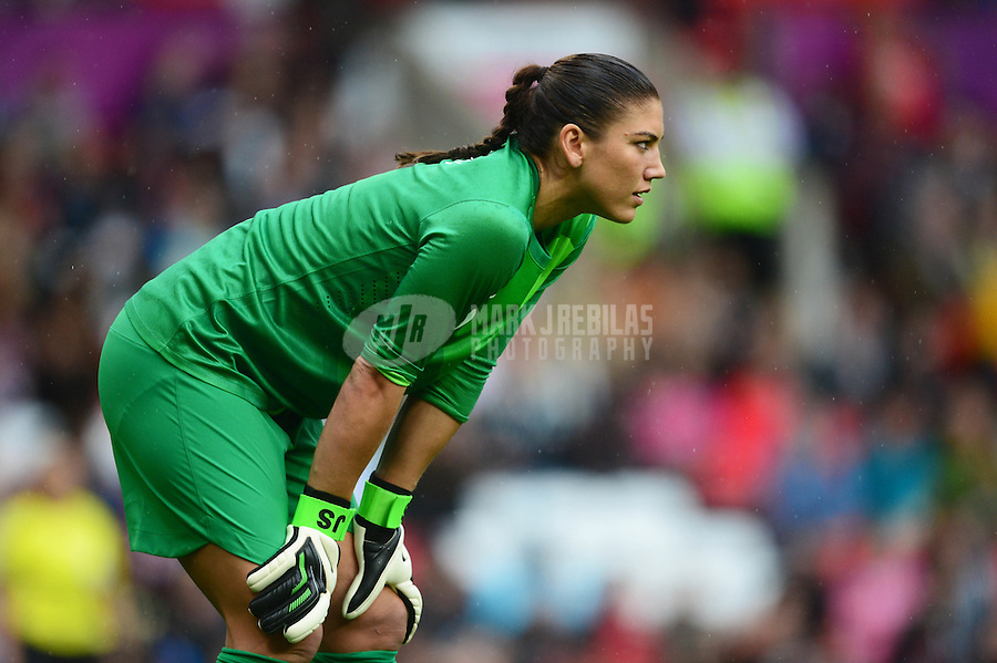 Jul 31, 2012; Manchester , United Kingdom; USA goalie Hope Solo defends the goal against North Korea during the women's preliminary round in the London 2012 Olympic Games at Old Trafford. Mandatory Credit: Mark J. Rebilas-USA TODAY Sports