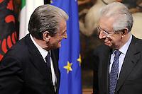 Roma, 7 Maggio 2012.Palazzo Chigi.Il presidente del Consiglio Mario Monti incontra il Primo ministro dell' Albania Sali Berisha