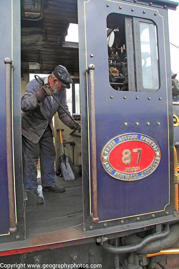 Steam train of Welsh Highland Railway, Porthmadog station, Gwynedd, north west Wales, UK