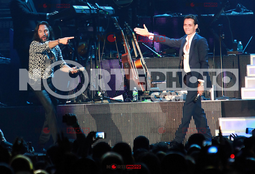 MIAMI, FL - AUGUST 3, 2012: Marco Anotnio Solis and Marc Anthony during the Gigant3s concert featuring, Marc Anthony, Chayanne and Marco Anotonio Solis at the American Airlines Arena in Miam, Florida. August 3, 2012. &copy;&nbsp;Majo Grossi/MediaPunch Inc. /NortePhoto.com<br /> <br />  **CREDITO*OBLIGATORIO** *No*Venta*A*Terceros*<br /> *No*Sale*So*third* ***No*Se*Permite*Hacer Archivo***No*Sale*So*third*