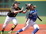 Galena's Tom Lichty tags Basic's Christian Rivero during NIAA DI baseball action at Bishop Manogue High School, in Reno, Nev., on Friday, May 20, 2016. Basic won 7-3 to advance to the championship. Cathleen Allison/Las Vegas Review-Journal