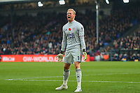 3rd November 2019; Selhurst Park, London, England; English Premier League Football, Crystal Palace versus Leicester City; Kasper Schmeichel of Leicester City celebrates the goal by Jamie Vardy for 0-2 - Strictly Editorial Use Only. No use with unauthorized audio, video, data, fixture lists, club/league logos or 'live' services. Online in-match use limited to 120 images, no video emulation. No use in betting, games or single club/league/player publications