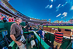 7 October 2017: Photographer Tony Quinn looks out from his shooting position prior to the second game of the NLDS against the Chicago Cubs at Nationals Park in Washington, DC. The Nationals rallied to defeat the Cubs 6-3 and even their best of five Postseason series at one game apiece. Mandatory Credit: Ed Wolfstein Photo *** RAW (NEF) Image File Available ***