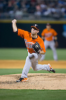 Norfolk Tides relief pitcher Steve Johnson (40) in action against the Charlotte Knights at BB&T BallPark on April 9, 2015 in Charlotte, North Carolina.  The Knights defeated the Tides 6-3.   (Brian Westerholt/Four Seam Images)