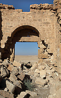 Main entrance, flanked by two towers (one visible on the right) seen from inside with the view to the desert, Qsar Bshir, Mobene fortress, best preserved Roman fort in the world, Castra Praetoria, built 293 - 305, el-Qatrana, Jordan desert, Jordan. Picture by Manuel Cohen