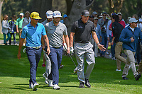 Phil Mickelson (USA) shares a laugh with Rafael Cabrera Bello (ESP) as they depart the 16th tee with Jon Rahm (ESP) and Dustin Johnson (USA) during the preview of the World Golf Championships, Mexico, Club De Golf Chapultepec, Mexico City, Mexico. 2/28/2018.<br /> Picture: Golffile | Ken Murray<br /> <br /> <br /> All photo usage must carry mandatory copyright credit (&copy; Golffile | Ken Murray)