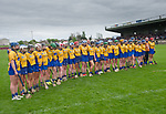 The Clare team stand for the anthem before their Minor A All-Ireland final against Galway at Nenagh.  Photograph by John Kelly.