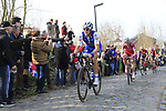 Matteo Trentin (ITA) Quick-Step Floors climbs Oude Kwaremont during the 60th edition of the Record Bank E3 Harelbeke 2017, Flanders, Belgium. 24th March 2017.<br /> Picture: Eoin Clarke | Cyclefile<br /> <br /> <br /> All photos usage must carry mandatory copyright credit (&copy; Cyclefile | Eoin Clarke)