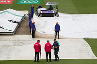 Micky Arthur, Coach, Pakistan shakes hands as the umpires conduct their pitch inspection. The gourd staff continue to work tirelessly to try and get the game on during Pakistan vs Sri Lanka, ICC World Cup Cricket at the Bristol County Ground on 7th June 2019