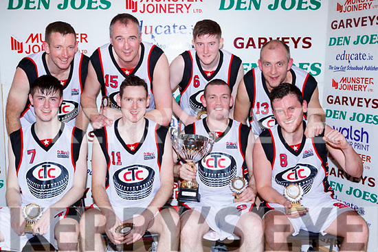 St Marys team celebrate after winning the Div 2 Mens final at the St Marys Basketball Blitz on Saturday front l-r:  Kevin Donoghue, Joe Kearney, Neiles Lyons, Frank Rahilly. Back row: Declan Cournane, Maurice Casaey, Sean O'Connell and Michael Broderick