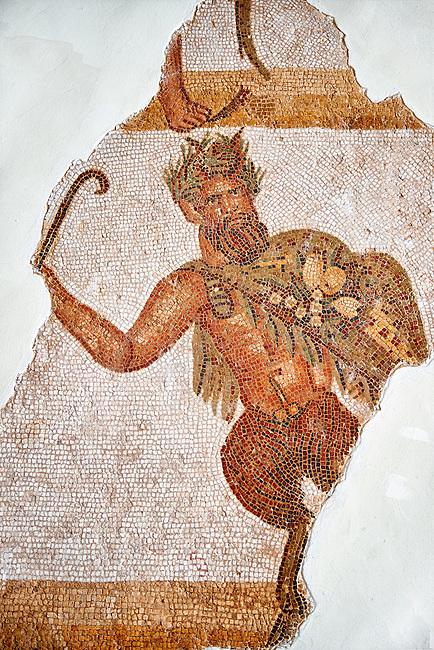 Roman mosaic celebrating the wedding of the God Dionysus to Ariadene. Late 3rd century AD, Thurbo Majus. Roman mosaics from the north African Roman province of Africanus . The Thurbo Majus Room, Bardo Museum, Tunis, Tunisia.