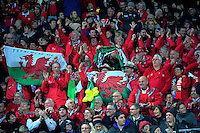 Wales fans celebrate Alun Wyn Jones' try during the Steinlager Series rugby union match between the New Zealand All Blacks and Wales at Westpac Stadium, Wellington, New Zealand on Saturday, 18 June 2016. Photo: Dave Lintott / lintottphoto.co.nz
