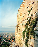 GREECE, Athens, view of the city from the Acropolis entrance at the top of the steps, an area called the Propylaea