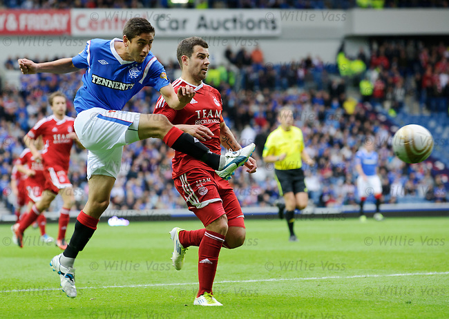 Alejandro Bedoya goes close on his debut for Rangers as he shoots past Richard Foster