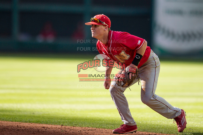 Nebraska Cornhuskers second baseman Jake Schleppenbach (6) on defense during Houston College Classic against the Texas A&M Aggies on March 6, 2015 at Minute Maid Park in Houston, Texas. Texas A&M defeated Nebraska 2-1. (Andrew Woolley/Four Seam Images)