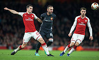 Bibras Natkho of CSKA Moscow takes on Granit Xhaka (29) & Aaron Ramsey of Arsenal during the UEFA Europa League QF 1st leg match between Arsenal and CSKA Moscow  at the Emirates Stadium, London, England on 5 April 2018. Photo by Andrew Aleksiejczuk / PRiME Media Images.