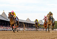 Lady Ivanka (no. 3) wins the Grade 1 Spinaway Stakes for two year old fillies September 2 at Saratoga Race Course, Saratoga Springs, NY.  The winner, ridden by Irad Ortiz and trained by  Rudy Rodriguez,  held the lead for the final furlong to win by a half length in the seven furlong race on the against four opponents.  (Bruce Dudek/Eclipse Sportswire)