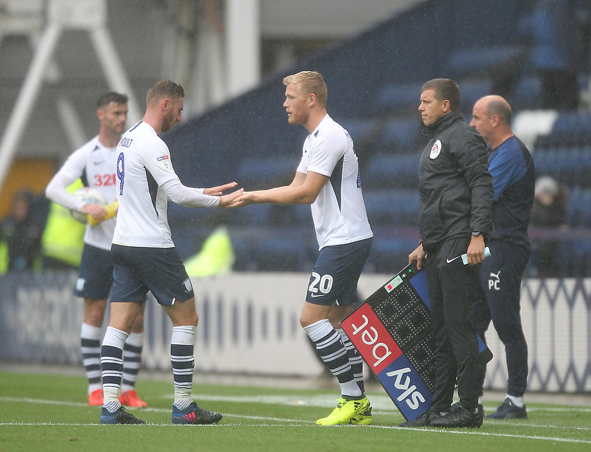 Preston North End's Louis Moult is repaced by Jayden Stockley<br /> <br /> Photographer Mick Walker/CameraSport<br /> <br /> The EFL Sky Bet Championship - Preston North End v Wigan Athletic - Saturday 10th August 2019 - Deepdale Stadium - Preston<br /> <br /> World Copyright © 2019 CameraSport. All rights reserved. 43 Linden Ave. Countesthorpe. Leicester. England. LE8 5PG - Tel: +44 (0) 116 277 4147 - admin@camerasport.com - www.camerasport.com