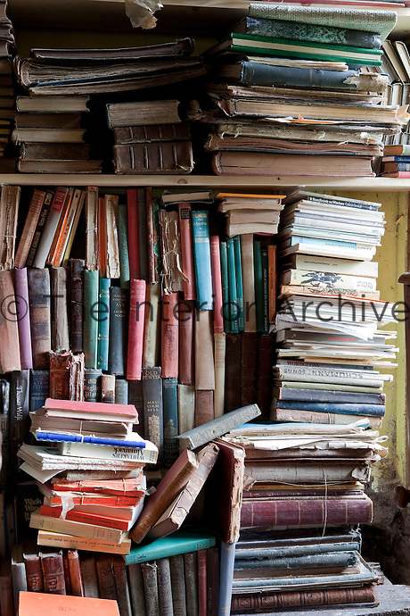 Old photograph albums and schoolbooks are among the ephemera found on the shelves in the library