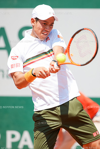 Kei Nishikori (JPN), JUNE 1, 2017 - Tennis : Kei Nishikori of Japan during the Men's singles second round match of the French Open tennis tournament against Jeremy Chardy of France at the Roland Garros in Paris, France. (Photo by AFLO)