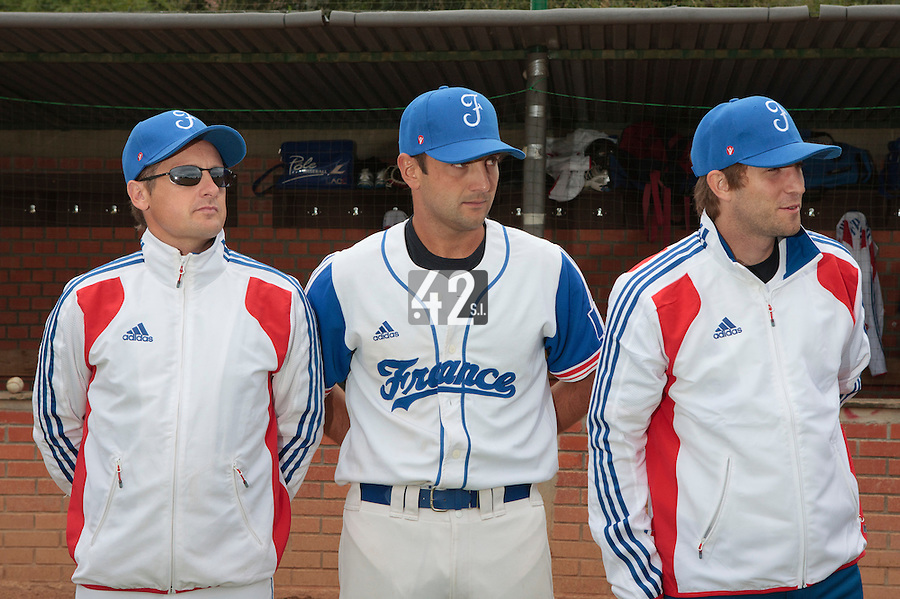 18 August 2010: Rodolphe Le Meur, Jean-Michel Mayeur, Thomas Dourlens are seen prior to France 7-3 win over Ukraine, at the 2010 European Championship, under 21, in Brno, Czech Republic.