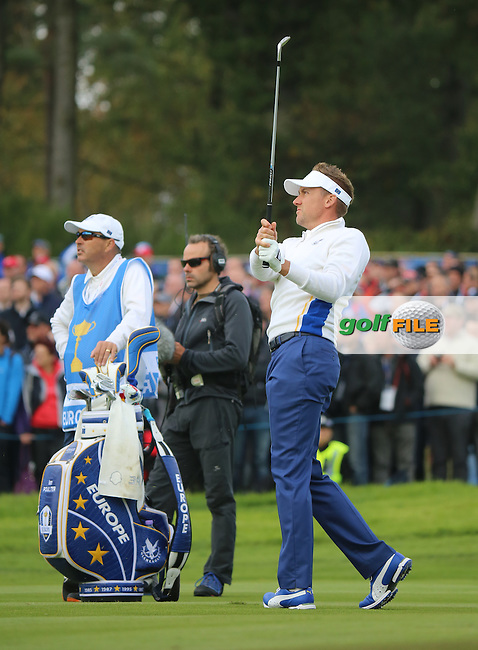 Ian Poulter (EUR) during the Saturday morning Fourballs of the 2014 Ryder Cup at Gleneagles. The 40th Ryder Cup is being played over the PGA Centenary Course at The Gleneagles Hotel, Perthshire from 26th to 28th September 2014.: Picture Kenneth E.Dennis, www.golffile.ie: \27/09/2014\