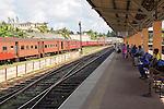 Tracks platform and train railway station, Galle , Sri Lanka, Asia