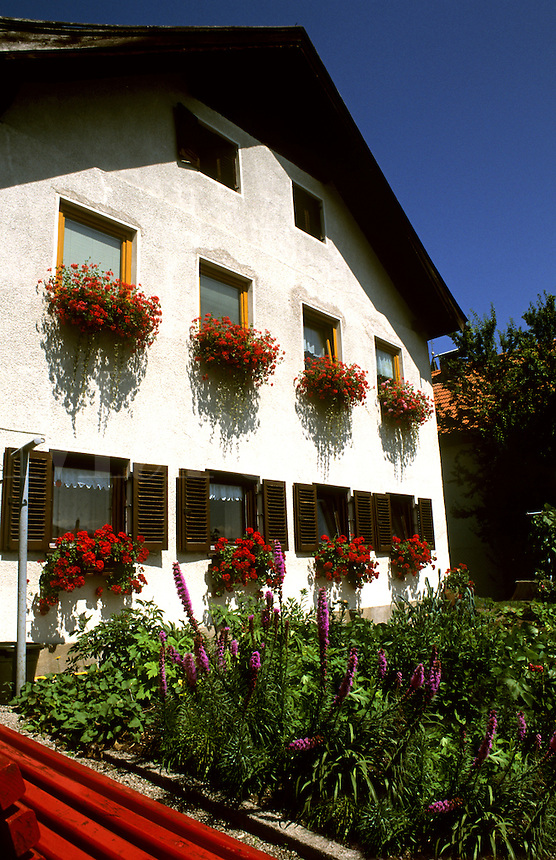 Colorful house with flowers in Innsbruck Austria