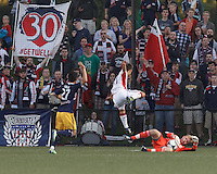 New England Revolution fans. 2013 Lamar Hunt U.S Open Cup fourth round, New England Revolution (white) defeated New York Red Bulls (blue/yellow), 4-2, at Harvard University's Soldiers Field Soccer Stadium on June 12, 2013.